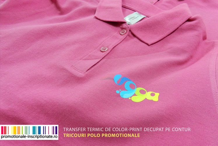 Transfer termic de color-print decupat pe contur - tricouri polo promotionale