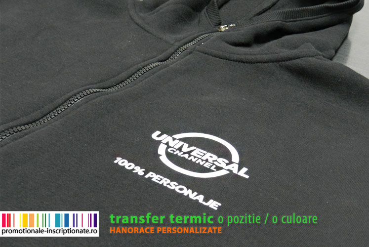 Hanorace promotionale inscriptionate prin transfer termic